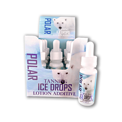 Polar Cooling Ice Drops - Tanning Lotion Additive Drops Display